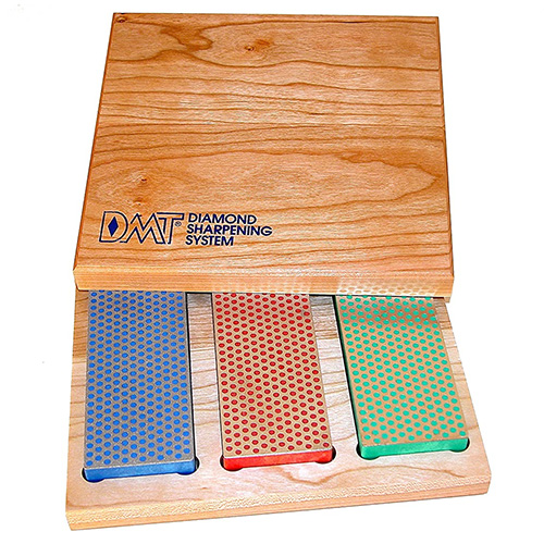 DMT Three 6-Inch Diamond Whetstones in a Hard Wood Box